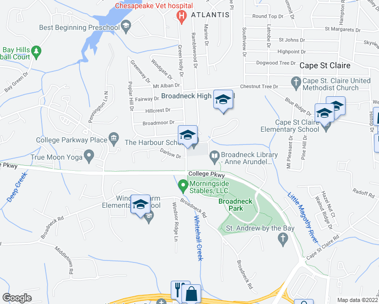 map of restaurants, bars, coffee shops, grocery stores, and more near 1265-1277 Green Holly Drive in Annapolis