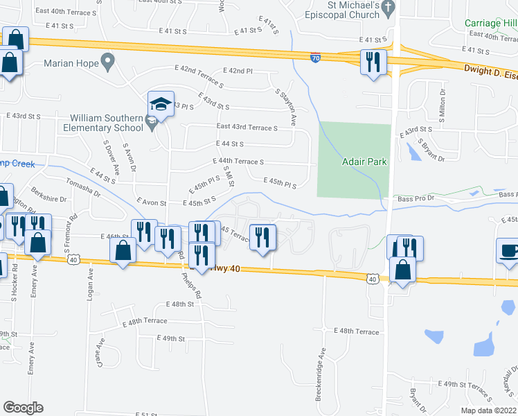 map of restaurants, bars, coffee shops, grocery stores, and more near 3100 Quail Creek Drive in Independence