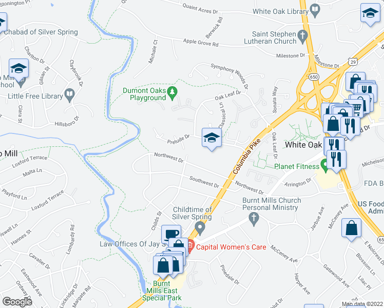 map of restaurants, bars, coffee shops, grocery stores, and more near 400 Northwest Drive in Silver Spring