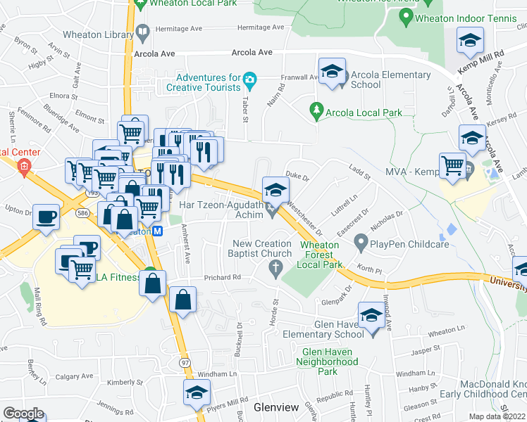 map of restaurants, bars, coffee shops, grocery stores, and more near 2020 Reedie Drive in Silver Spring