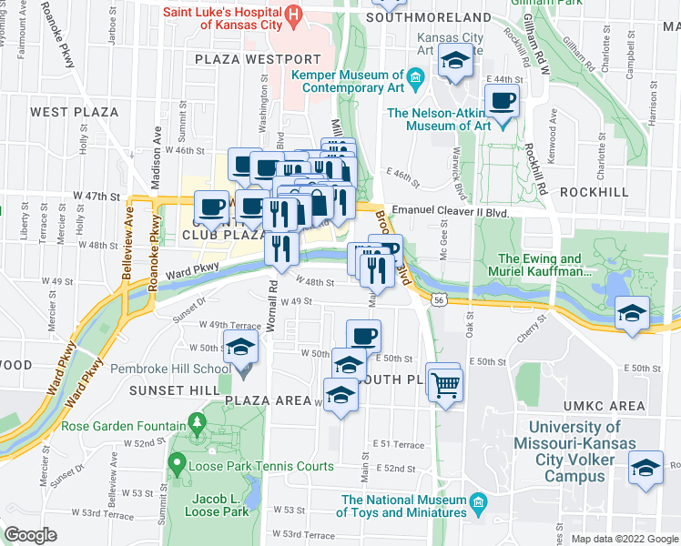 map of restaurants, bars, coffee shops, grocery stores, and more near 105 Ward Parkway in Kansas City