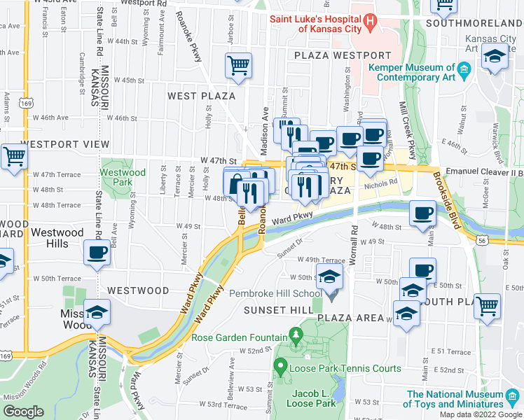 map of restaurants, bars, coffee shops, grocery stores, and more near 4828 Roanoke Parkway in Kansas City