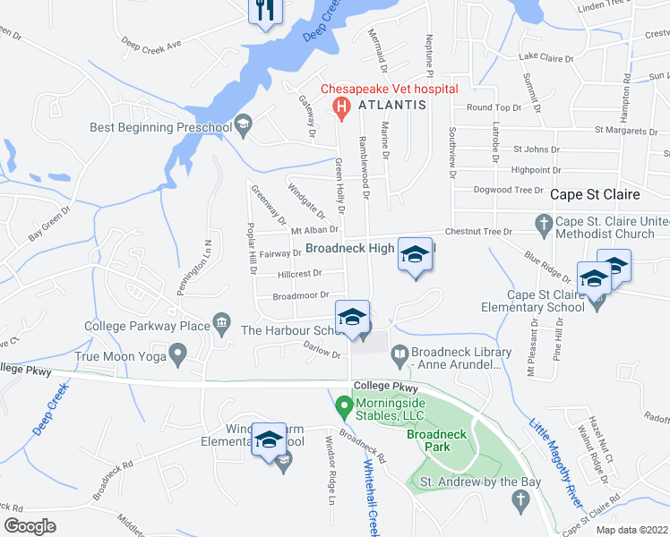 map of restaurants, bars, coffee shops, grocery stores, and more near 724 Hillcrest Drive in Annapolis