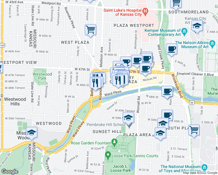 map of restaurants, bars, coffee shops, grocery stores, and more near 803 West 48th Street in Kansas City