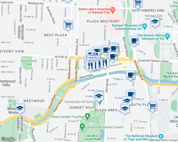 map of restaurants, bars, coffee shops, grocery stores, and more near West 48th Street & Jefferson Street in Kansas City