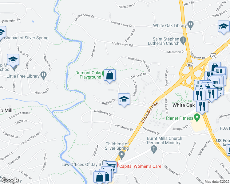 map of restaurants, bars, coffee shops, grocery stores, and more near 323 Lyric Lane in Silver Spring