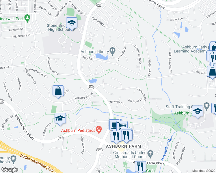 map of restaurants, bars, coffee shops, grocery stores, and more near 43193 Wayside Circle in Ashburn