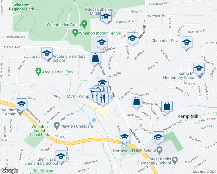 map of restaurants, bars, coffee shops, grocery stores, and more near 1209 Arcola Avenue in Silver Spring