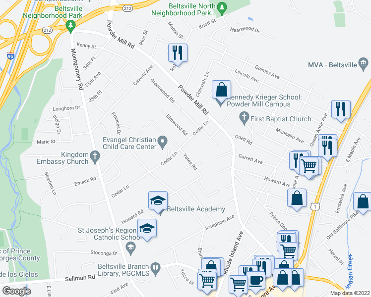 map of restaurants, bars, coffee shops, grocery stores, and more near 11500 Cedar Lane in Beltsville