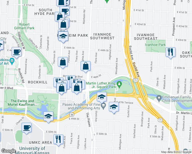 map of restaurants, bars, coffee shops, grocery stores, and more near 1500 East 46th Street in Kansas City