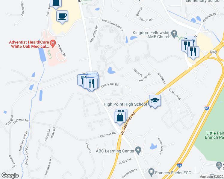 map of restaurants, bars, coffee shops, grocery stores, and more near 11457 Cherry Hill Road in Beltsville