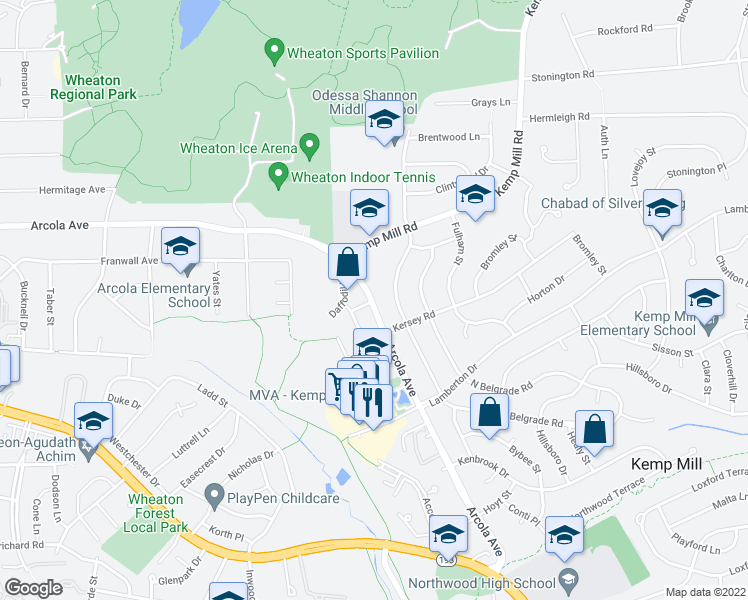 map of restaurants, bars, coffee shops, grocery stores, and more near 1401 Arcola Avenue in Silver Spring