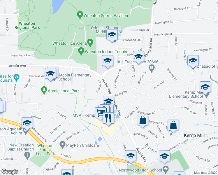 map of restaurants, bars, coffee shops, grocery stores, and more near 1501 Arcola Avenue in Silver Spring