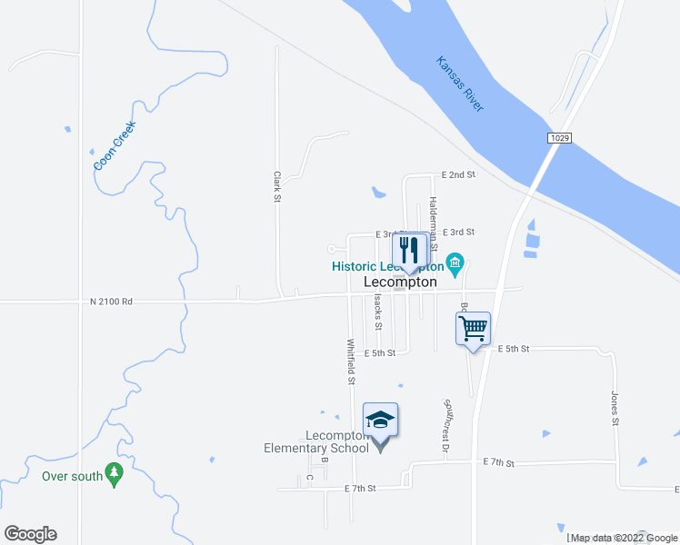 map of restaurants, bars, coffee shops, grocery stores, and more near 331 Whitfield St in Lecompton