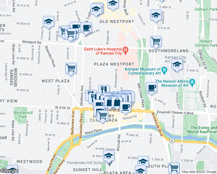 map of restaurants, bars, coffee shops, grocery stores, and more near 4551 Pennsylvania Avenue in Kansas City