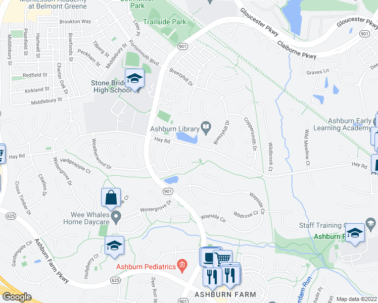map of restaurants, bars, coffee shops, grocery stores, and more near Hay Road in Ashburn