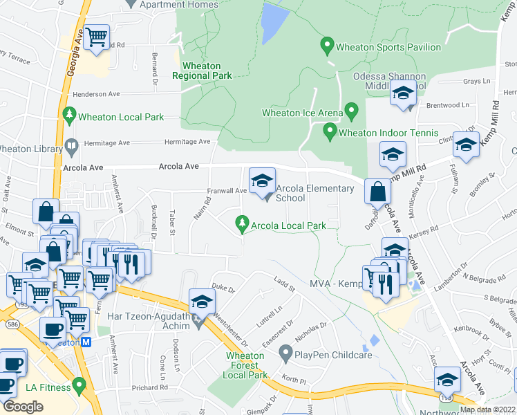 map of restaurants, bars, coffee shops, grocery stores, and more near 11501-11563 Channing Drive in Silver Spring