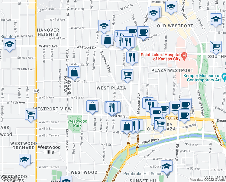 map of restaurants, bars, coffee shops, grocery stores, and more near 4530 Holly Street in Kansas City