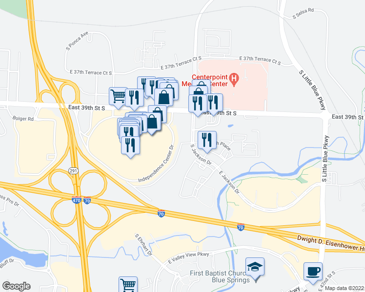 map of restaurants, bars, coffee shops, grocery stores, and more near 3950 South Jackson Drive in Independence