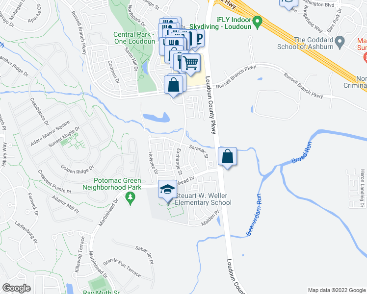 map of restaurants, bars, coffee shops, grocery stores, and more near 20600 Exchange Street in Ashburn