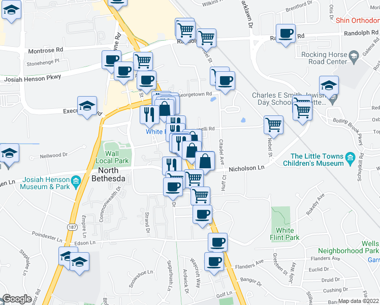 map of restaurants, bars, coffee shops, grocery stores, and more near Bethesda Trolley Trail in North Bethesda