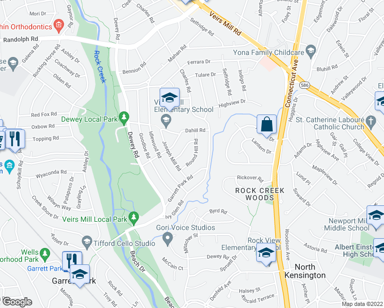 map of restaurants, bars, coffee shops, grocery stores, and more near 4208 Highwood Road in Silver Spring