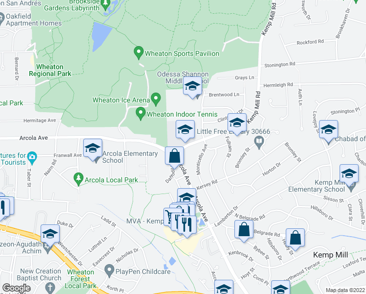 map of restaurants, bars, coffee shops, grocery stores, and more near 11609 Kemp Mill Road in Silver Spring