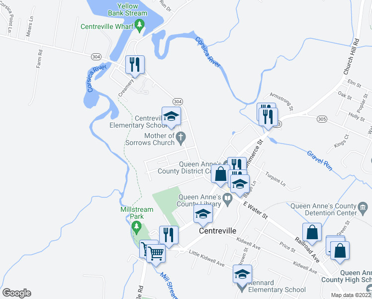 map of restaurants, bars, coffee shops, grocery stores, and more near 106 Windsor Avenue in Centreville