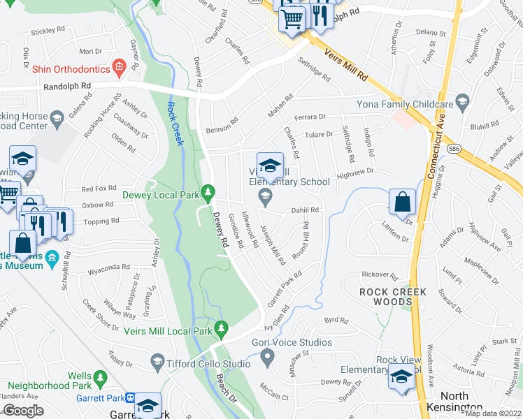 map of restaurants, bars, coffee shops, grocery stores, and more near 4206 Dahill Road in Silver Spring