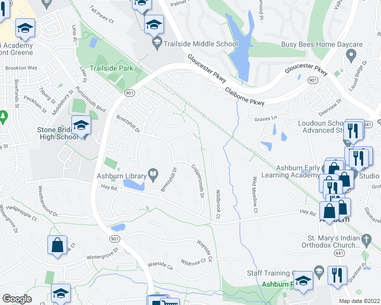 map of restaurants, bars, coffee shops, grocery stores, and more near Longview Drive in Ashburn
