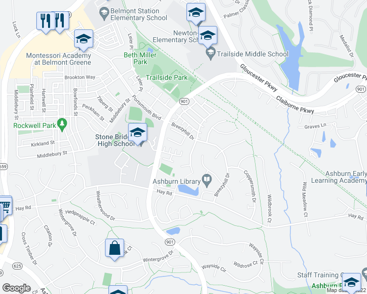 map of restaurants, bars, coffee shops, grocery stores, and more near 43251 Brookford Square in Ashburn