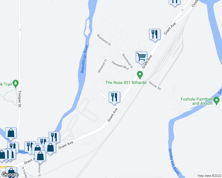 map of restaurants, bars, coffee shops, grocery stores, and more near 38 Fuller Circle in Junction City