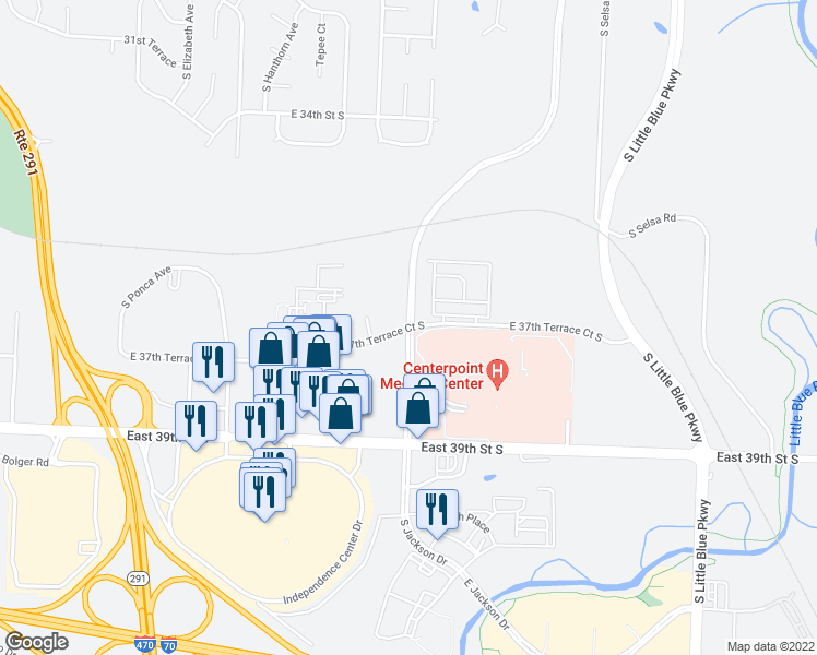 map of restaurants, bars, coffee shops, grocery stores, and more near S Jackson Dr & East 37th Terrace S in Independence