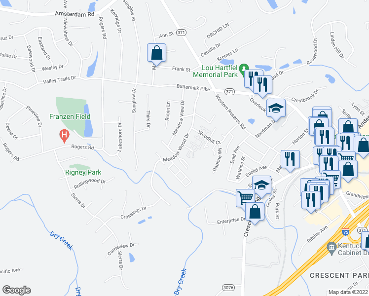 map of restaurants, bars, coffee shops, grocery stores, and more near 735 Meadow Wood Drive in Villa Hills