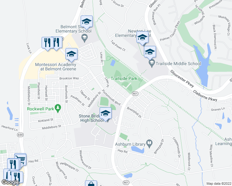map of restaurants, bars, coffee shops, grocery stores, and more near 43195 Buttermere Terrace in Ashburn