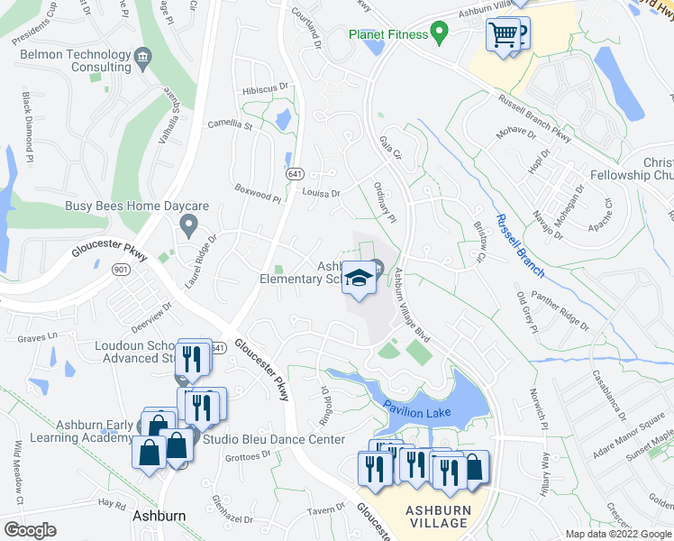 map of restaurants, bars, coffee shops, grocery stores, and more near 20362 Flushing Meadows Ct in Ashburn