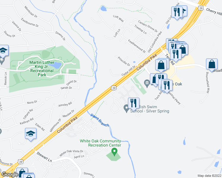 map of restaurants, bars, coffee shops, grocery stores, and more near 2300 Broadbirch Drive in Silver Spring