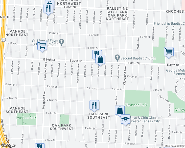 map of restaurants, bars, coffee shops, grocery stores, and more near 3938 College Avenue in Kansas City
