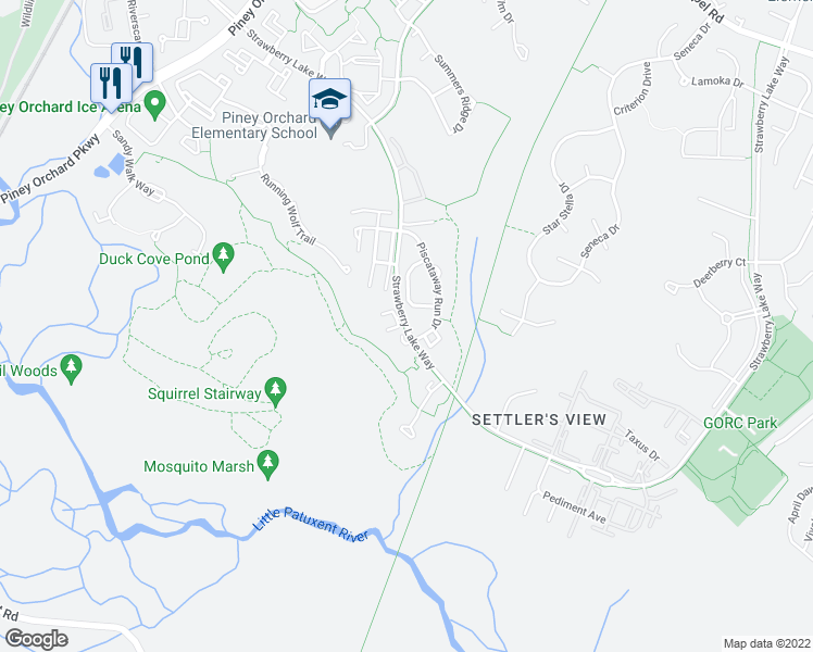 map of restaurants, bars, coffee shops, grocery stores, and more near 830 Patuxent Run Circle in Odenton