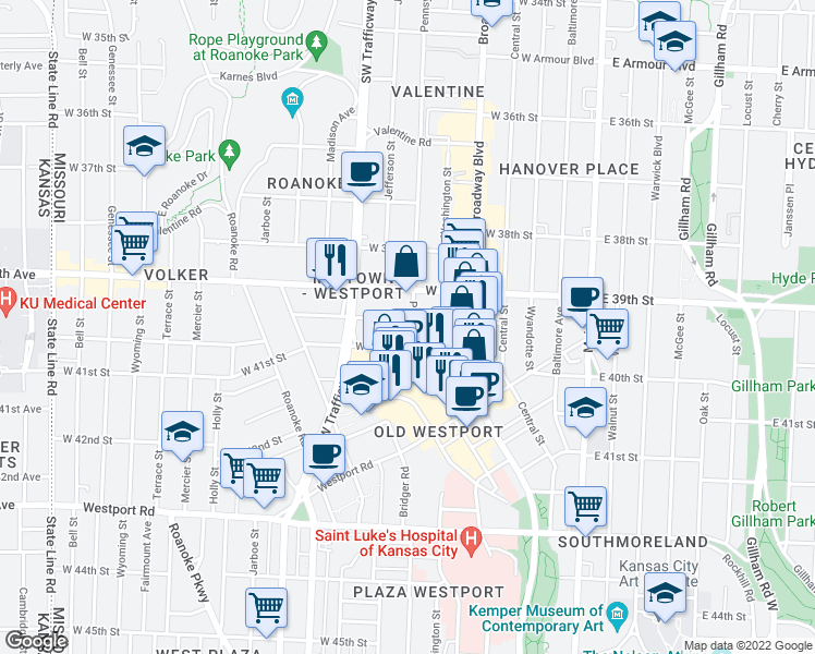 map of restaurants, bars, coffee shops, grocery stores, and more near 3936 Pennsylvania Avenue in Kansas City