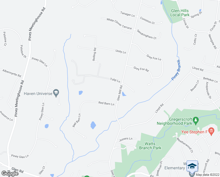 map of restaurants, bars, coffee shops, grocery stores, and more near 12210 Glen Mill Road in Rockville