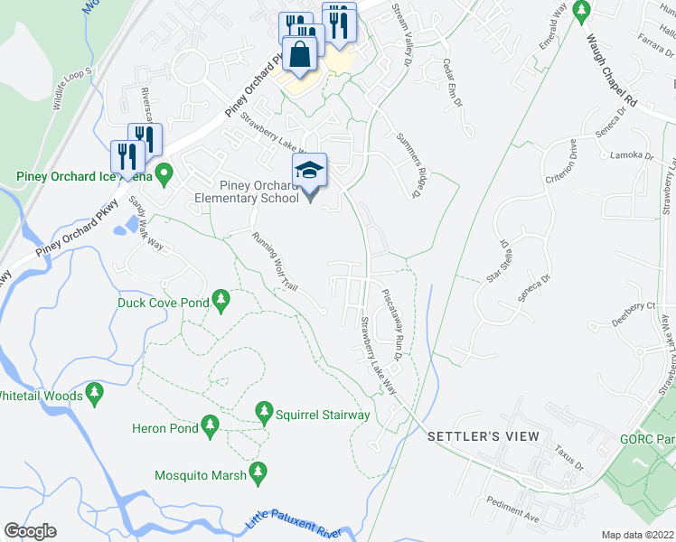 map of restaurants, bars, coffee shops, grocery stores, and more near 811 Herring Creek Court in Odenton