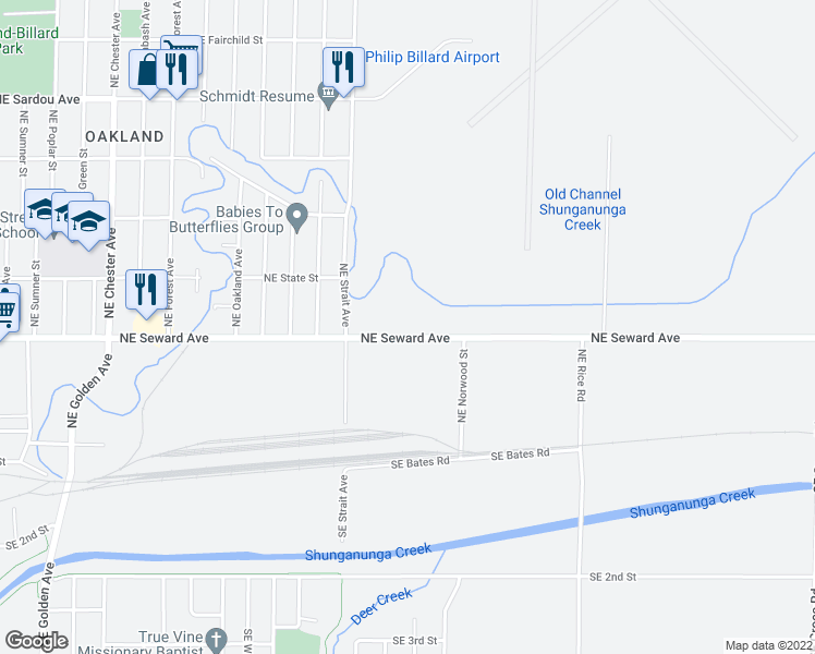 map of restaurants, bars, coffee shops, grocery stores, and more near 3225 Northeast Seward Avenue in Topeka