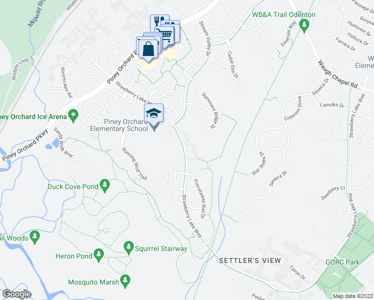 map of restaurants, bars, coffee shops, grocery stores, and more near in Odenton