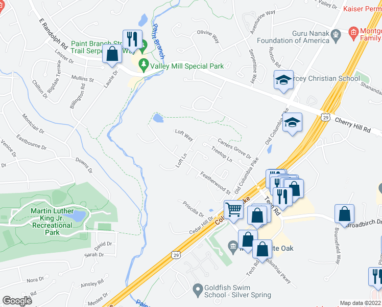 map of restaurants, bars, coffee shops, grocery stores, and more near 12417 Loft Lane in Silver Spring