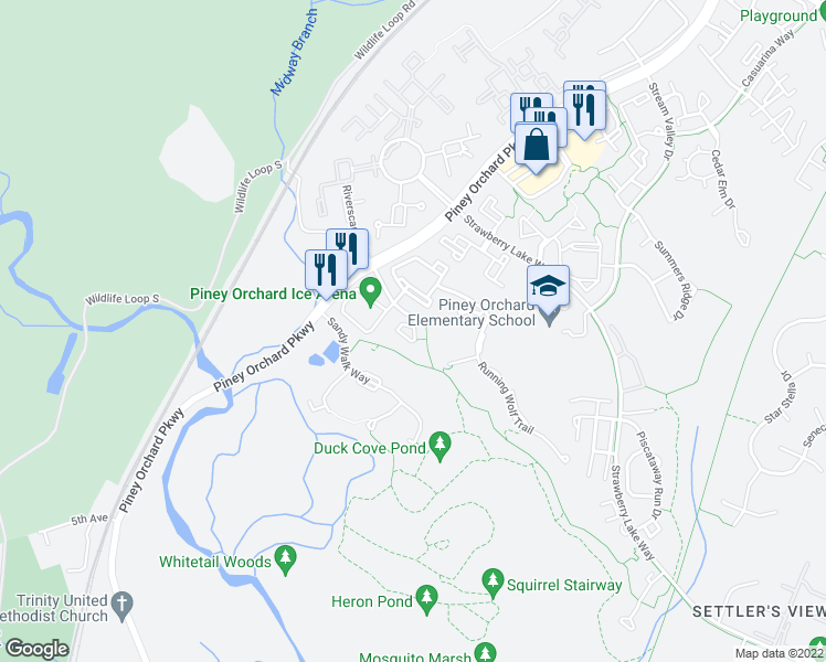 map of restaurants, bars, coffee shops, grocery stores, and more near 8702 Natures Trail Court in Odenton