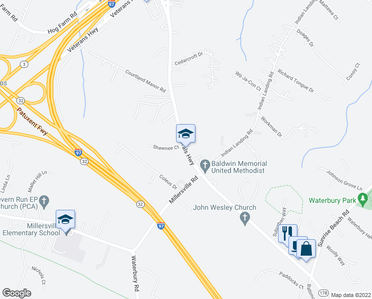 map of restaurants, bars, coffee shops, grocery stores, and more near 867 Generals Highway in Millersville