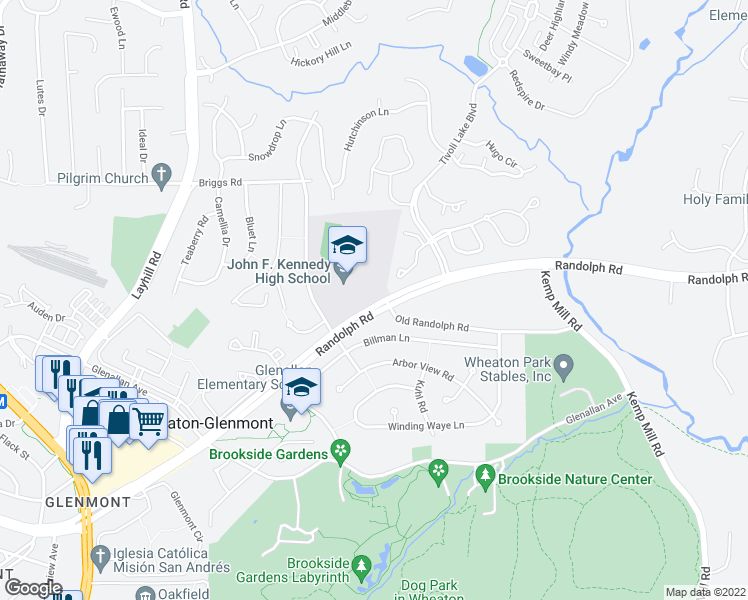 map of restaurants, bars, coffee shops, grocery stores, and more near 1762 Wilcox Lane in Silver Spring
