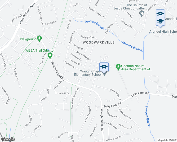 map of restaurants, bars, coffee shops, grocery stores, and more near Stone Court in Odenton