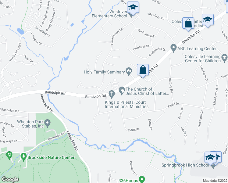 map of restaurants, bars, coffee shops, grocery stores, and more near 586-600 Randolph Road in Colesville